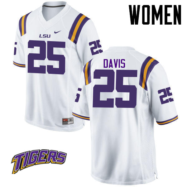 Women's #25 Drake Davis LSU Tigers College Football Jerseys-White
